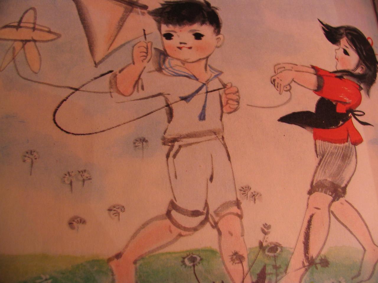 joyeux enfants cerf volant